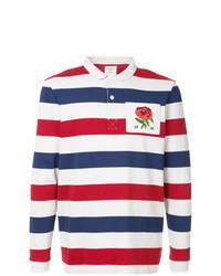 Бело-красно-синий свитер с воротником поло