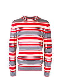 Бело-красно-синий свитер с круглым вырезом в горизонтальную полоску