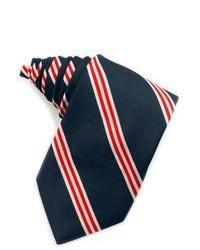 Бело-красно-синий шелковый галстук в вертикальную полоску