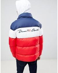 Бело-красно-синяя куртка-пуховик