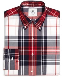 Бело-красно-синяя рубашка с длинным рукавом в шотландскую клетку
