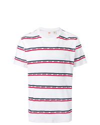 Мужская бело-красно-синяя футболка с круглым вырезом в горизонтальную полоску от Levi's