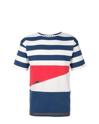 Мужская бело-красно-синяя футболка с круглым вырезом в горизонтальную полоску от Marni