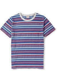 Бело-красно-синяя футболка с круглым вырезом