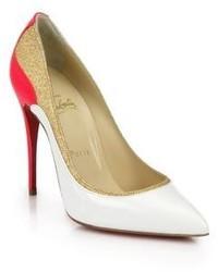 Бело-красные кожаные туфли