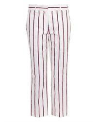 Бело-красные узкие брюки в вертикальную полоску