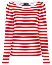 Бело-красный свитер с круглым вырезом в горизонтальную полоску