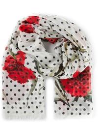 Бело-красный шарф с принтом