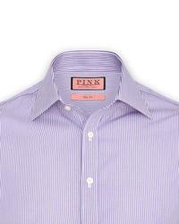 Бело-пурпурная классическая рубашка в вертикальную полоску