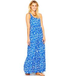 Бело-синее платье-макси с цветочным принтом