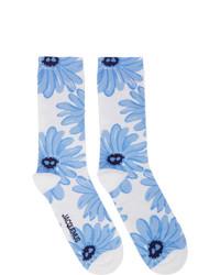 Бело-синие носки с принтом