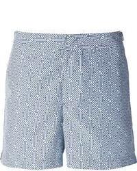 Бело-синие шорты с принтом