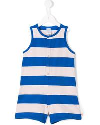 Бело-синие штаны-комбинезон в горизонтальную полоску