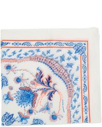 Бело-синий нагрудный платок с принтом
