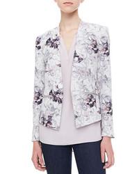 Бело-синий пиджак с цветочным принтом