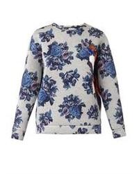 Бело-синий свитер с круглым вырезом с цветочным принтом