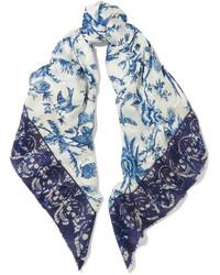 Бело-синий шарф с принтом