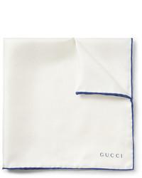 Бело-синий шелковый нагрудный платок от Gucci