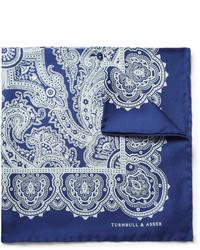 Бело-синий шелковый нагрудный платок от Turnbull & Asser