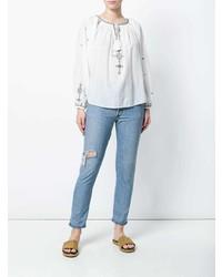Бело-синяя блуза-крестьянка с вышивкой от Isabel Marant Etoile