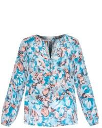 Бело-синяя блузка с длинным рукавом с принтом