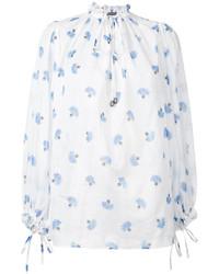 Бело-синяя блузка с длинным рукавом с принтом от Alexander McQueen