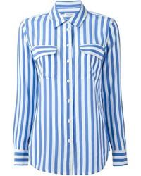 Бело-синяя классическая рубашка в вертикальную полоску