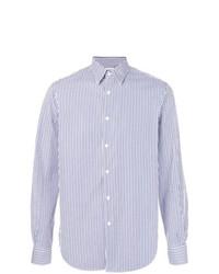 Мужская бело-синяя классическая рубашка в вертикальную полоску от Aspesi