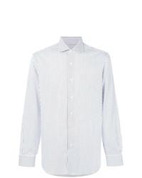 Мужская бело-синяя классическая рубашка в вертикальную полоску от Barba