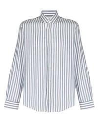 Мужская бело-синяя классическая рубашка в вертикальную полоску от Brunello Cucinelli