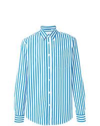 Мужская бело-синяя классическая рубашка в вертикальную полоску от Department 5