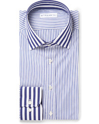 Мужская бело-синяя классическая рубашка в вертикальную полоску от Etro