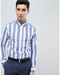 Мужская бело-синяя классическая рубашка в вертикальную полоску от Process Black