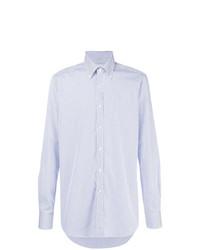 Мужская бело-синяя классическая рубашка в вертикальную полоску от Xacus