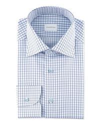 Бело-синяя классическая рубашка в клетку
