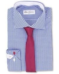 Бело-синяя классическая рубашка в мелкую клетку