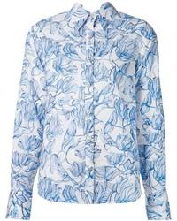 Бело-синяя классическая рубашка с цветочным принтом