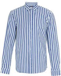 Бело-синяя рубашка с длинным рукавом в вертикальную полоску