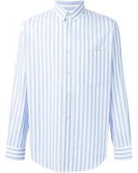 Мужская бело-синяя рубашка с длинным рукавом в вертикальную полоску от AMI Alexandre Mattiussi