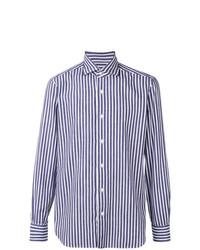 Мужская бело-синяя рубашка с длинным рукавом в вертикальную полоску от Barba