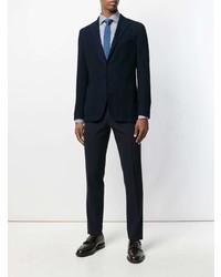 Мужская бело-синяя рубашка с длинным рукавом в вертикальную полоску от Canali