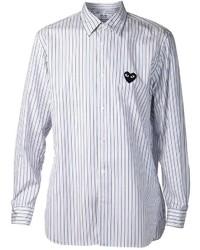 Мужская бело-синяя рубашка с длинным рукавом в вертикальную полоску от Comme des Garcons