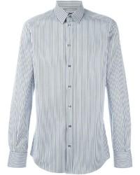 Мужская бело-синяя рубашка с длинным рукавом в вертикальную полоску от Dolce & Gabbana