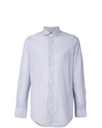 Мужская бело-синяя рубашка с длинным рукавом в вертикальную полоску от Finamore 1925 Napoli