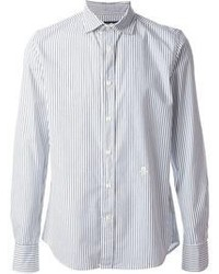 Мужская бело-синяя рубашка с длинным рукавом в вертикальную полоску от Hydrogen