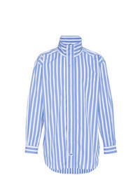 Мужская бело-синяя рубашка с длинным рукавом в вертикальную полоску от Martine Rose