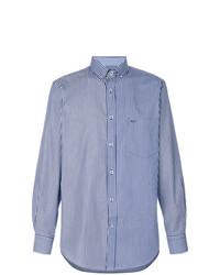 Мужская бело-синяя рубашка с длинным рукавом в вертикальную полоску от Paul & Shark