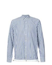 Мужская бело-синяя рубашка с длинным рукавом в вертикальную полоску от Sacai