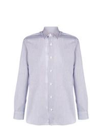Мужская бело-синяя рубашка с длинным рукавом в вертикальную полоску от Z Zegna