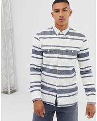 Бело-синяя рубашка с длинным рукавом в горизонтальную полоску